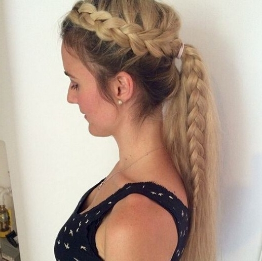 15 Adorable French Braid Ponytails For Long Hair – Popular Haircuts Throughout Three Braids To One Ponytail Hairstyles (View 18 of 25)
