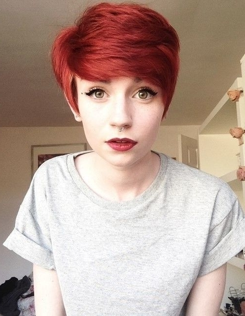 Featured Photo of Ravishing Red Pixie Hairstyles