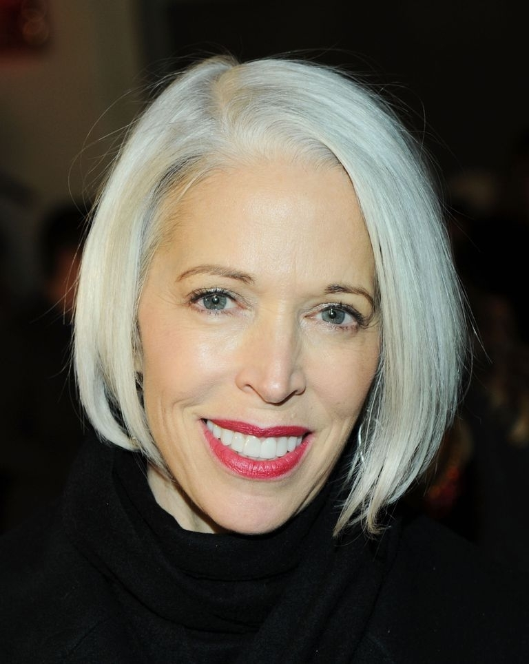 15 Gorgeous Gray Hairstyles For Women Of All Ages Within Long Blonde Bob Hairstyles In Silver White (View 16 of 25)