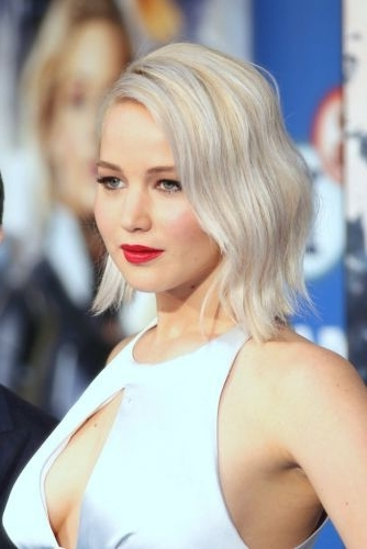 15 New Jennifer Lawrence Hairstyles (Hot 2017 Bob Haircuts!) For Textured Platinum Blonde Bob Hairstyles (View 24 of 25)