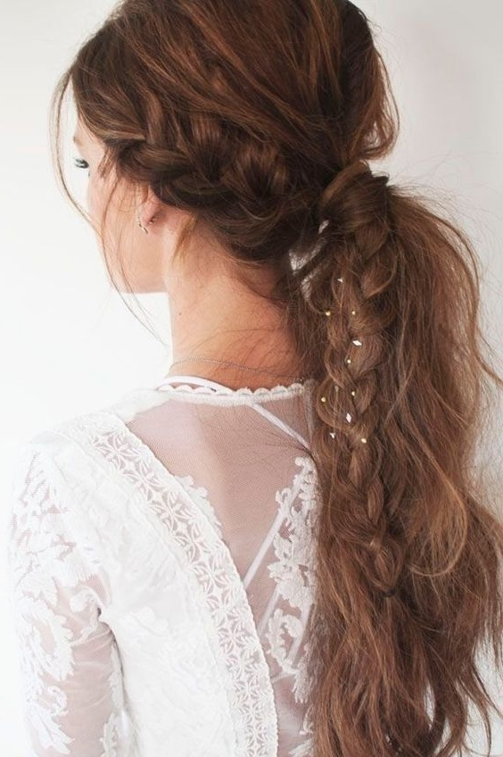 16 Beautiful Braided Ponytail Hairstyles For Different Occasions Within Brunette Prom Ponytail Hairstyles (View 14 of 25)