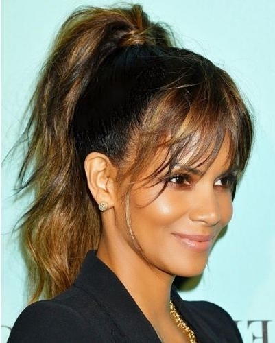 16 Hot Halle Berry Hairstyles (Pixie Short Hair Queen!) In High Messy Pony Hairstyles With Long Bangs (View 13 of 25)
