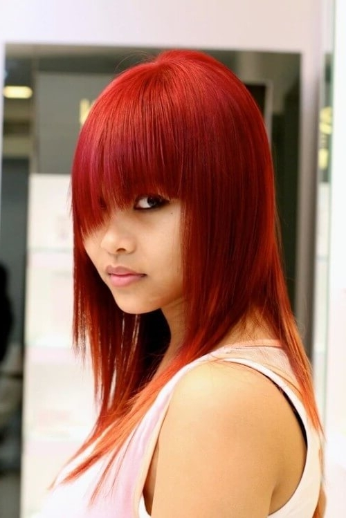 18 Amazing Feather Cut Hairstyles For Indian Women – Updated For 2017 With Ginger Highlights Ponytail Hairstyles With Side Bangs (View 12 of 25)