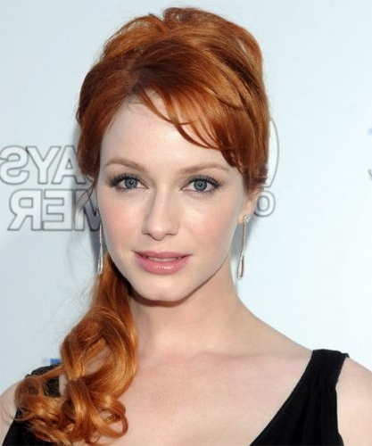 18 Christina Hendricks Hairstyles (Natural Red Color) With Regard To Ginger Highlights Ponytail Hairstyles With Side Bangs (View 3 of 25)