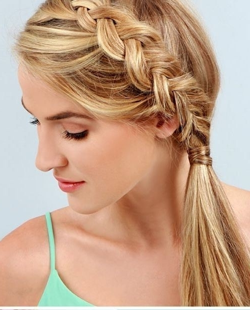 18 Cute Braided Ponytail Styles – Popular Haircuts In Braided Headband And Twisted Side Pony Hairstyles (View 24 of 25)