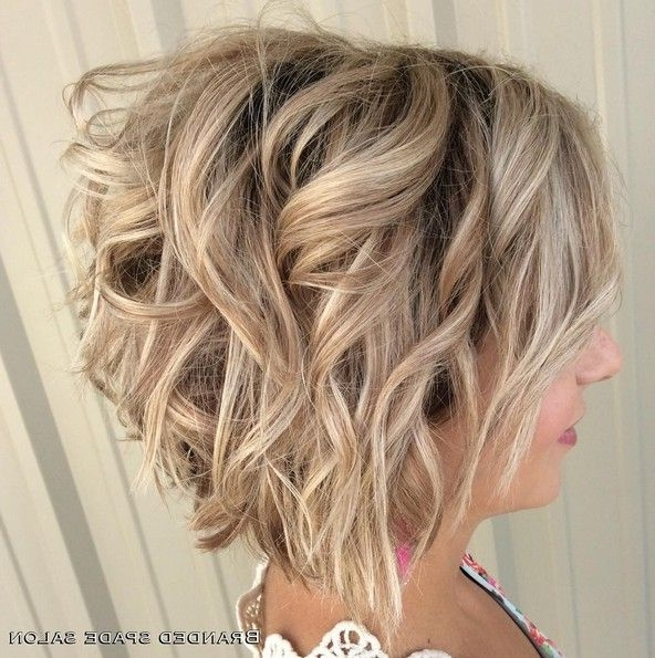 18 Hot Angled Bob Hairstyles: Shoulder Length Hair, Short Hair Cut In Angled Wavy Lob Blonde Hairstyles (View 4 of 25)