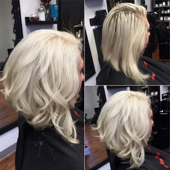 Featured Photo of Curly Angled Blonde Bob Hairstyles