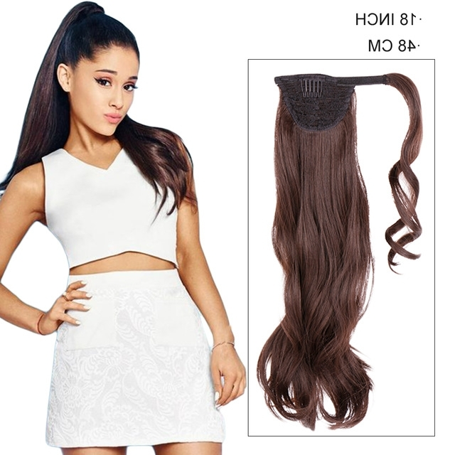 18 Inch Long Sleek Hair Black Fake Hair Ponytail Natural Wave Clip Intended For Long And Sleek Black Ponytail Hairstyles (View 25 of 25)