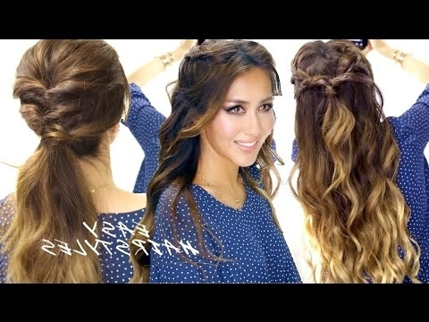2 ? Super Easy School Hairstyles | Braided Half Up & Cute Ponytail Inside Midi Half Up Half Down Ponytail Hairstyles (View 24 of 25)