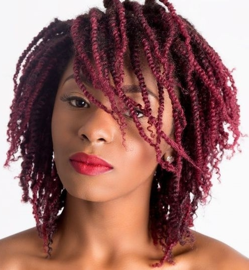 20 Creative Twisted Hairstyles For Women With Natural Hair 2018 In High Braided Pony Hairstyles With Peek A Boo Bangs (View 23 of 25)