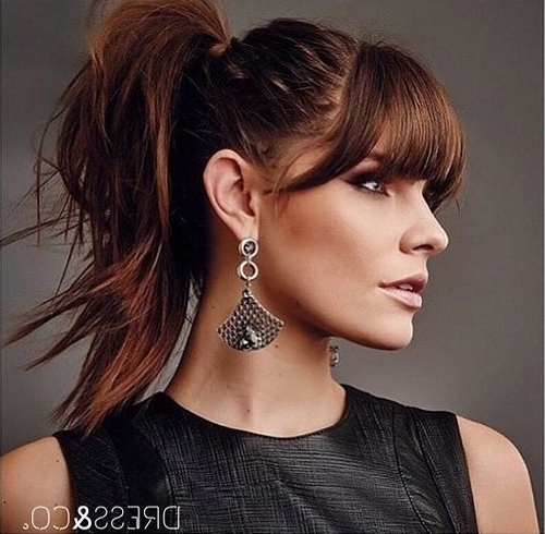 20 Great Ponytails With Bangs Inspiration Ideas For High Braided Pony Hairstyles With Peek A Boo Bangs (View 2 of 25)