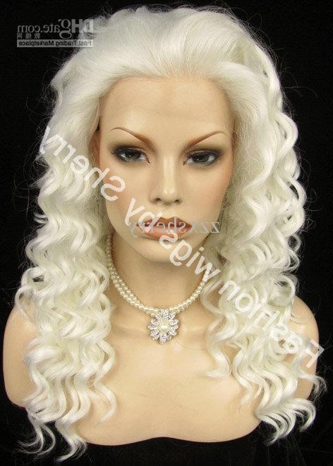 20 Long #1001 White Blonde Curly Heavy Density Heat Friendly Regarding White Blonde Curls Hairstyles (View 7 of 25)