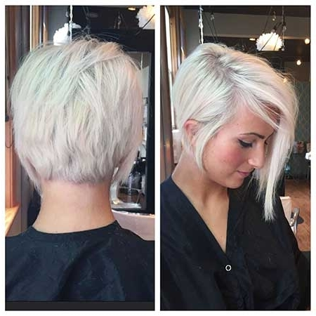 20+ Pics Of Short Bleach Blonde Hairstyles | Short Hairstyles With Platinum Asymmetrical Blonde Hairstyles (View 12 of 25)