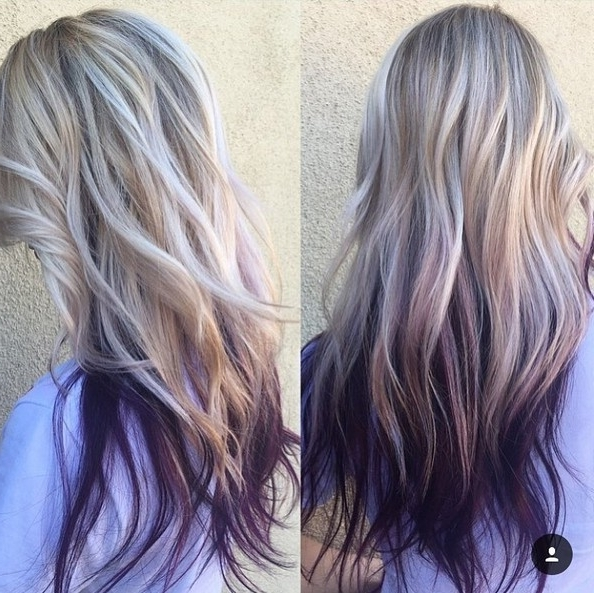 20 Purple Ombre Hair Color Ideas – Popular Haircuts In Ombre Ed Blonde Lob Hairstyles (View 24 of 25)