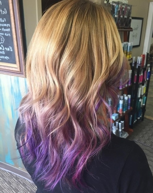 20 Purple Ombre Hair Color Ideas – Popular Haircuts Pertaining To Ombre Ed Blonde Lob Hairstyles (View 14 of 25)