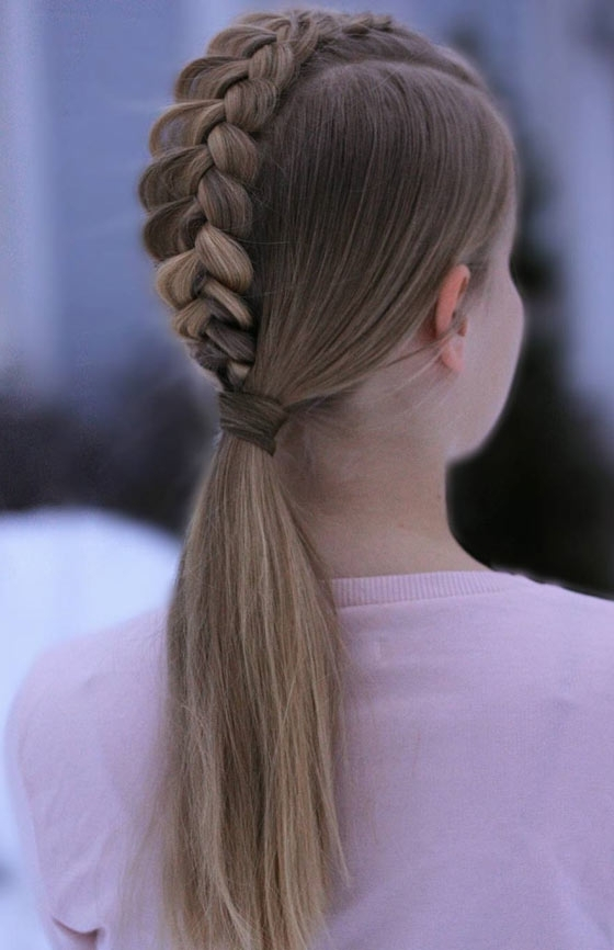 20 Quick And Easy Braids For Kids (Tutorial Included) Throughout Ponytail Hairstyles With Dutch Braid (View 3 of 25)