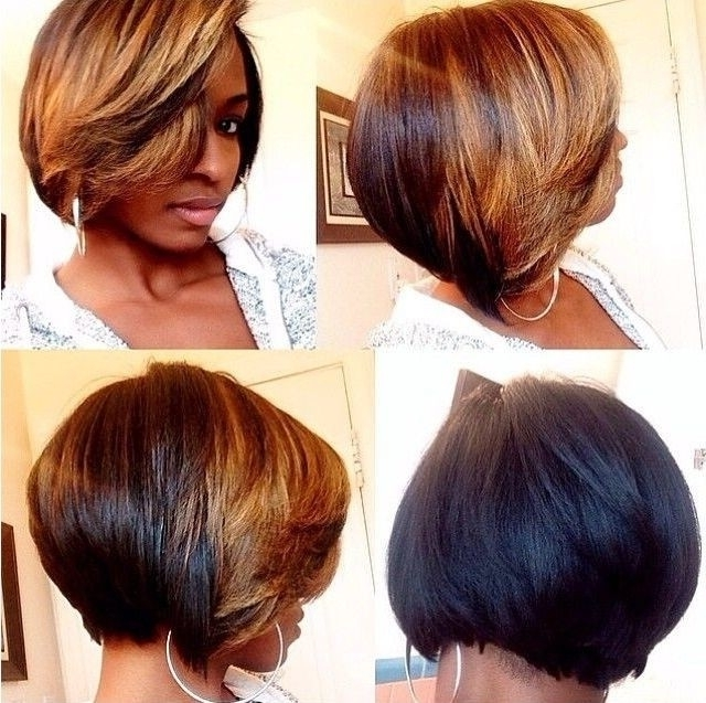20 Trendy Bob Hairstyles For Black Women | Styles Weekly Pertaining To Feathered Cut Blonde Hairstyles With Middle Part (View 3 of 25)