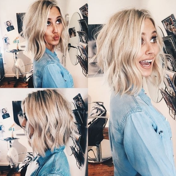 20 Trendy Ways To Style A Blonde Bob – Popular Haircuts In Creamy Blonde Waves With Bangs (View 23 of 25)