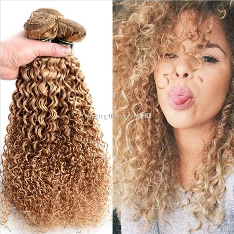 2018 Brazilian Blonde Curly Hair Extensions Honey Blonde Remy Human For Curly Blonde Ponytail Hairstyles With Weave (View 7 of 25)