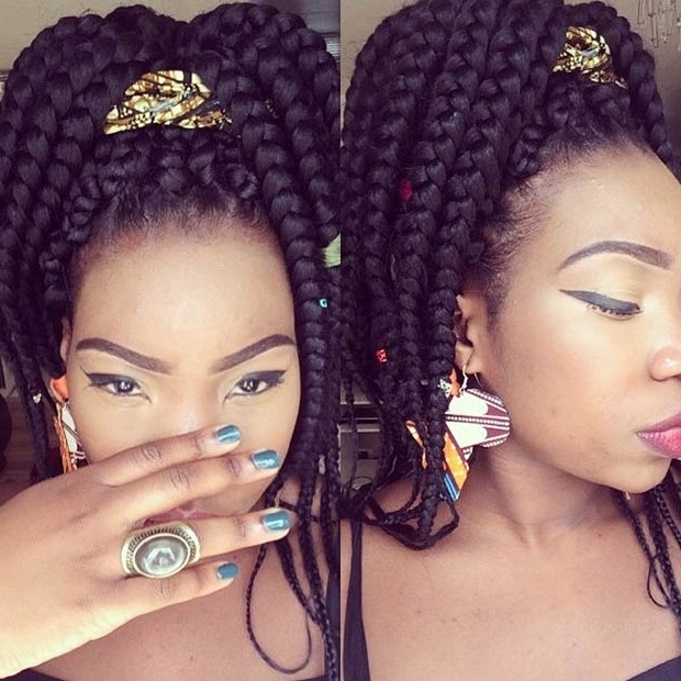 21 Best Jumbo Box Braids Hairstyles | Page 2 Of 2 | Stayglam Pertaining To High Ponytail Hairstyles With Jumbo Cornrows (View 18 of 25)