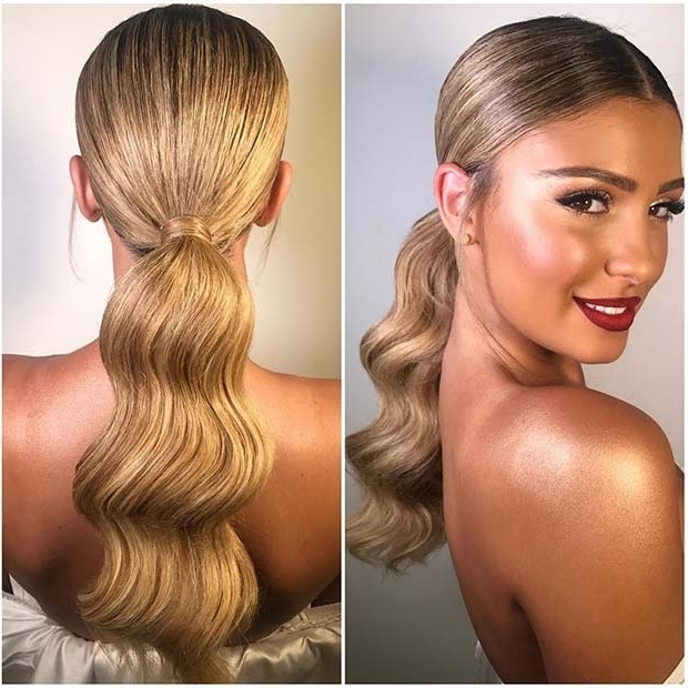 21 Elegant Ponytail Hairstyles For Special Occassions | Stayglam Throughout Low Ponytail Hairstyles With Waves (View 10 of 25)