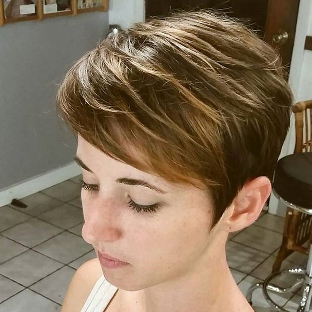 21 Flattering Pixie Haircuts For Round Faces – Pretty Designs Inside Best And Newest Reddish Brown Layered Pixie Bob Hairstyles (View 17 of 25)