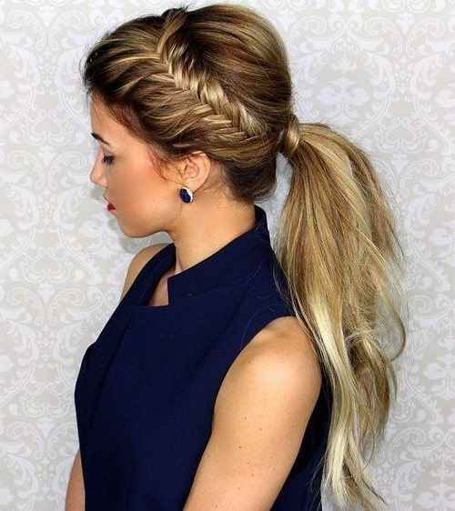 22 Cute Ponytails For Long & Medium Length Hair – Straight, Messy In Ponytail And Lacy Braid Hairstyles (View 7 of 25)