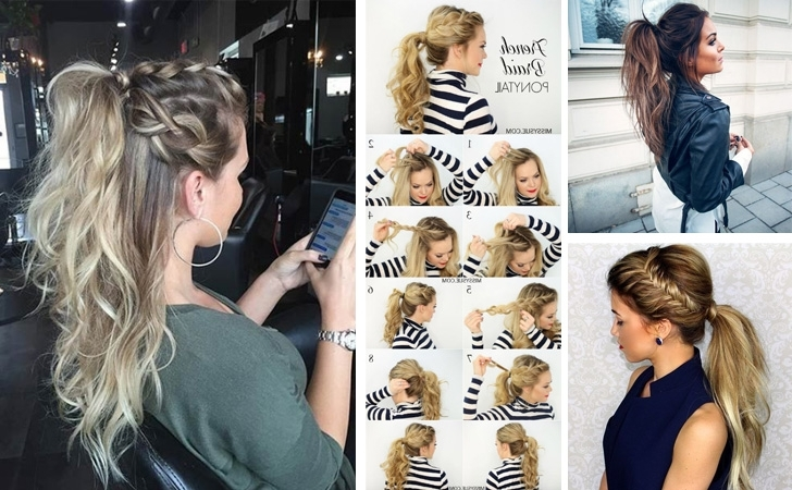 22 Cute Ponytails For Long & Medium Length Hair – Straight, Messy With Ponytail And Lacy Braid Hairstyles (View 19 of 25)