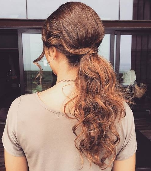 22 Pretty, Charming Ways To Style Your Ponytail: Ponytail Hairstyle In Low Ponytail Hairstyles With Waves (View 9 of 25)