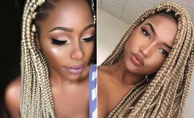23 Cool Blonde Box Braids Hairstyles To Try | Stayglam Inside Platinum Braided Updo Blonde Hairstyles (View 14 of 25)