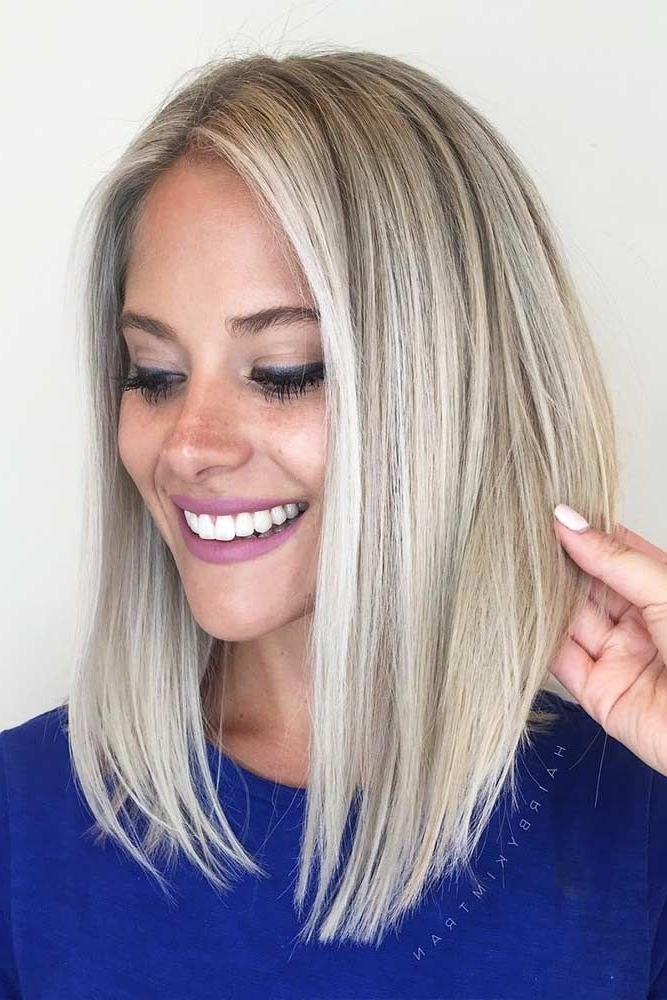 Featured Photo of Blunt Cut White Gold Lob Blonde Hairstyles