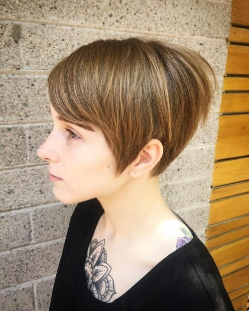 24 Greatest Brown Hair With Blonde Highlights For 2018 With Regard To Paper White Pixie Cut Blonde Hairstyles (View 16 of 25)