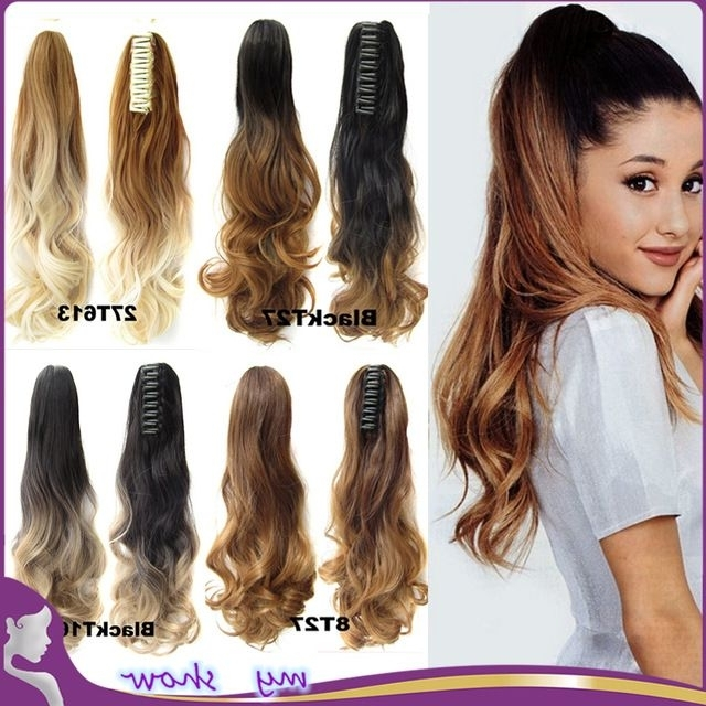 """24"""" Natural Curly Clip On Hair Extensions Claw Ponytail Synthetic Within Ponytail Hairstyles With Wild Wavy Ombre (View 9 of 25)"""