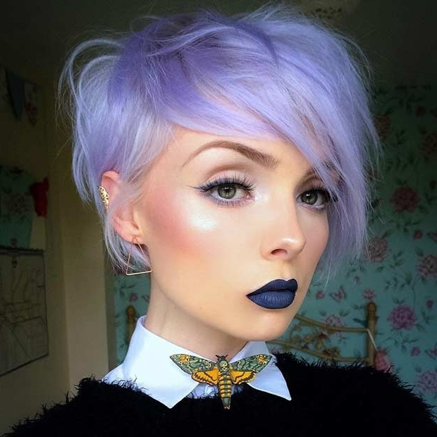 25 Beautiful Lavender Hair Color Ideas | Stayglam Inside Latest Lavender Pixie Bob Hairstyles (View 24 of 25)