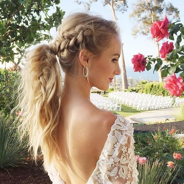 25 Elegant Ponytail Hairstyles For Special Occasions | Stayglam Pertaining To Pretty Messy Pony Hairstyles With Braided Section (View 19 of 25)