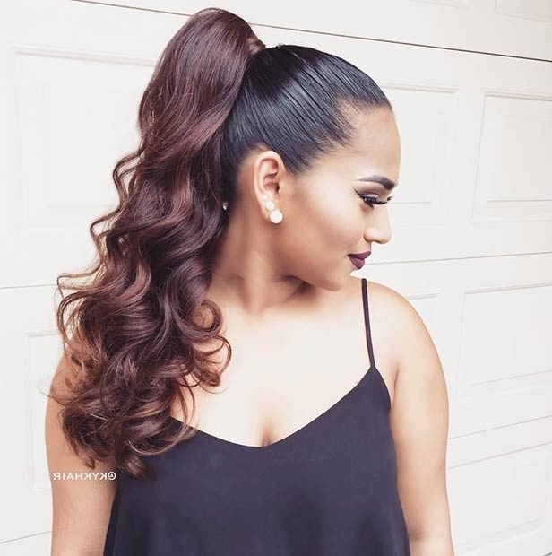 25 Elegant Ponytail Hairstyles For Special Occasions | Stayglam With Regard To Easy High Pony Hairstyles For Curly Hair (View 10 of 25)