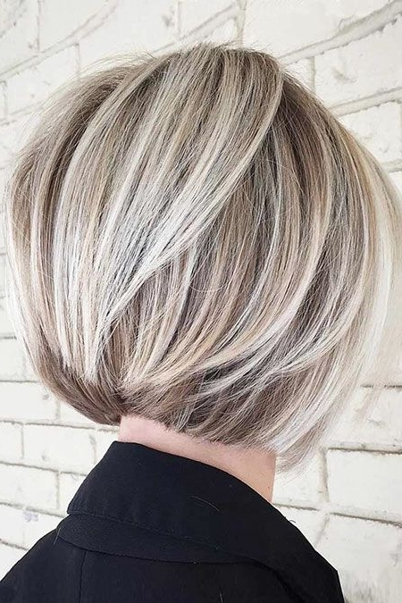 25 Short Layered Bob Hairstyles 2017 – 2018 | Color | Pinterest Intended For Asymmetry Blonde Bob Hairstyles Enhanced By Color (View 8 of 25)