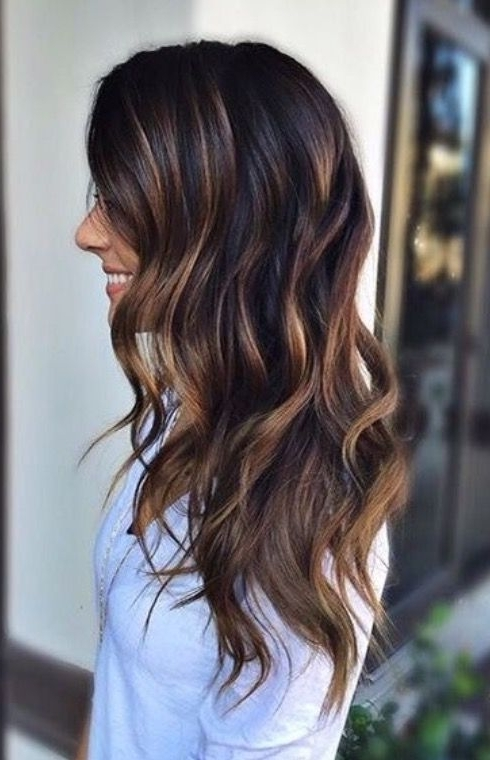 25 Subtle Hair Color Ideas For Brunettes | Hair Inspiration Intended For Dark Locks Blonde Hairstyles With Caramel Highlights (View 9 of 25)