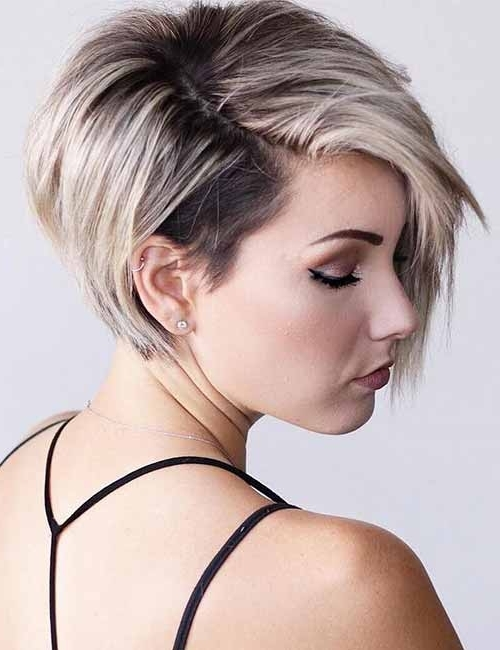 25 Trendy Balayage Looks For Short Hair Inside Current Undercut Blonde Pixie Hairstyles With Dark Roots (View 21 of 25)