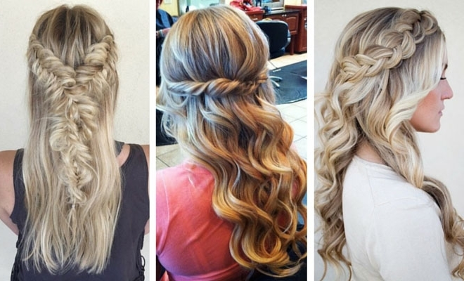 26 Stunning Half Up, Half Down Hairstyles | Stayglam Throughout Braided Along The Way Hairstyles (View 15 of 25)
