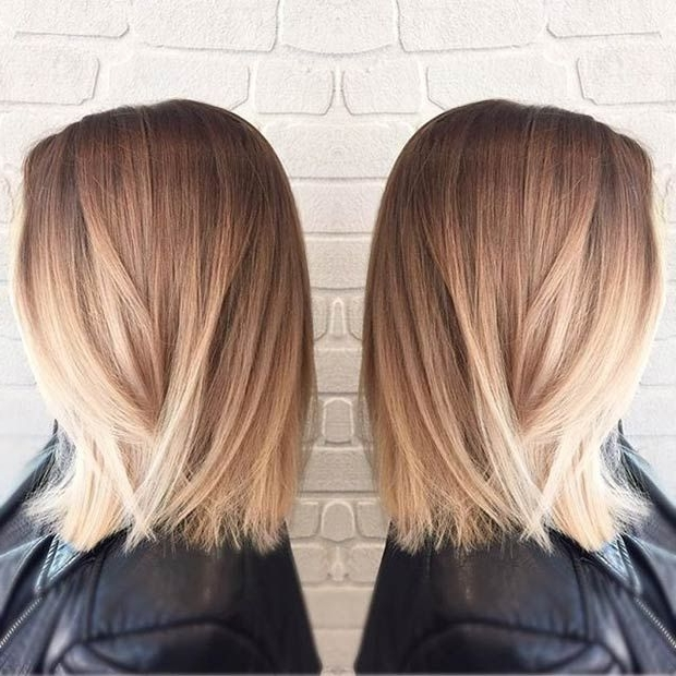 27 Beautiful Long Bob Hairstyles: Shoulder Length Hair Cuts With Dark And Light Contrasting Blonde Lob Hairstyles (View 25 of 25)