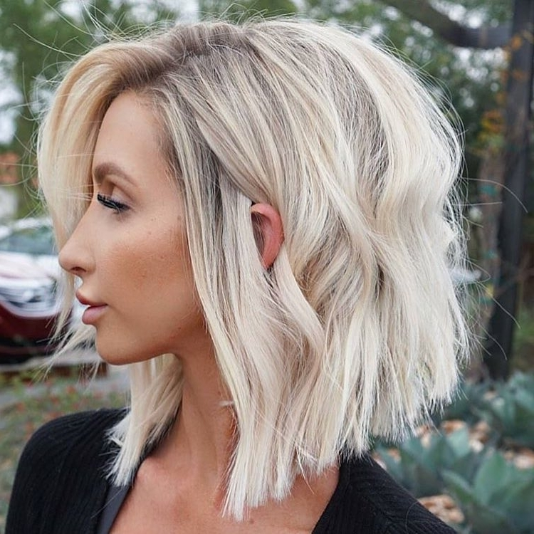 27 Incredible Lob Haircuts For 2018 Inside Ice Blonde Lob Hairstyles (View 14 of 25)