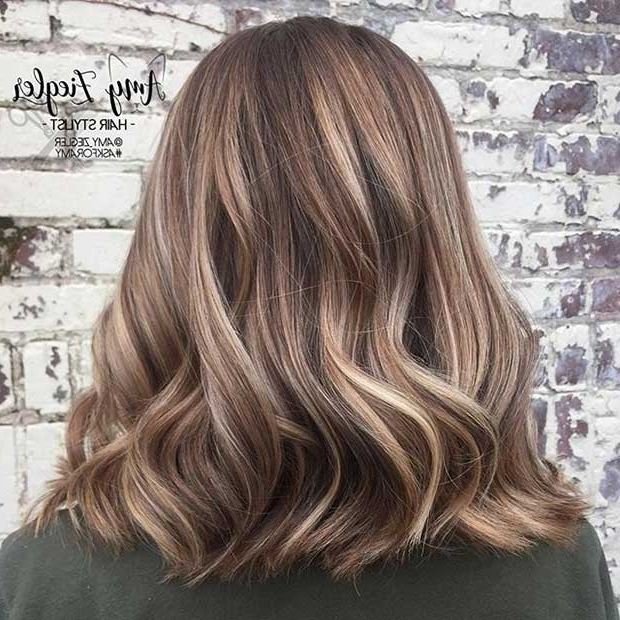 27 Pretty Lob Haircut Ideas You Should Copy In 2017 | Stayglam Regarding Caramel Blonde Lob With Bangs (View 4 of 25)