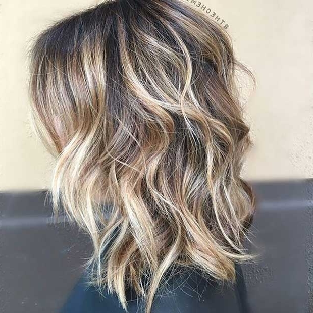 27 Pretty Lob Haircut Ideas You Should Copy In 2017 | Stayglam Regarding Wavy Caramel Blonde Lob Hairstyles (View 9 of 25)