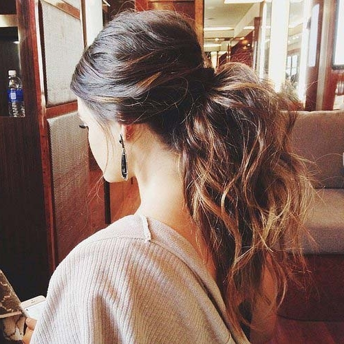 28 Messy Ponytails For Every Occasion 2018 | Hairstyle Guru Intended For Mid Length Wavy Messy Ponytail Hairstyles (View 8 of 25)