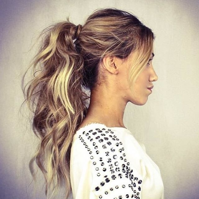 Featured Photo of High Messy Pony Hairstyles With Long Bangs