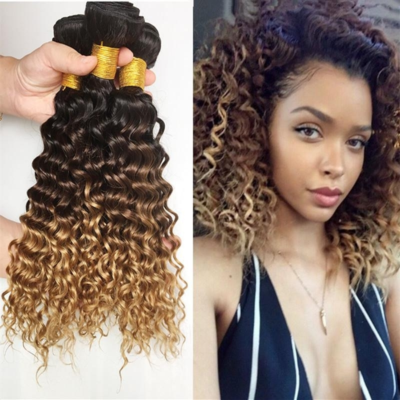 3 Bundle Deals 9A Ombre Peruvian Virgin Hair Weaves 1B 4 27 Three Intended For Brown To Blonde Ombre Curls Hairstyles (View 3 of 25)