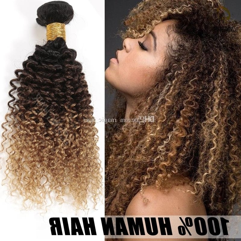 3 Bundles 8A Honey Blonde Ombre Brazilian Kinky Curly Hair Three Throughout Brown To Blonde Ombre Curls Hairstyles (View 4 of 25)