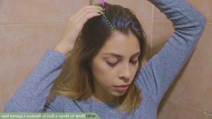 3 Easy Ways To Make A Bun In Medium Layered Hair – Wikihow With Regard To Mid Length Wavy Messy Ponytail Hairstyles (View 22 of 25)
