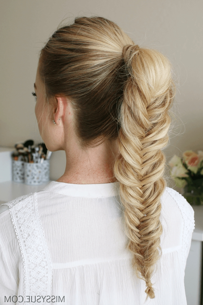 3 New Back To School Hairstyles In 2018 | Hair Tutorials | Pinterest Throughout Chunky Ponytail Fishtail Braid Hairstyles (View 11 of 25)